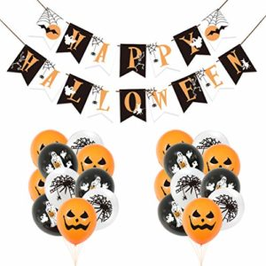 Bluelves Halloween Décorations Ballons,Happy Halloween Banner 10 Citrouille Ballons,10 araignée Ballons,10 fantôme Ballons Latex Orange et Noir de Halloween fête Fournitures Faveurs, Pack Party 6