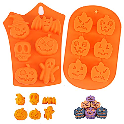 LOVEXIU Moulle Halloween,Moulle Silicone Patisserie,Halloween Citrouille Gateaux Silicone Moule,AntiadhéSif Moules en Silicone pour Muffins, Pumpkin Moule Muffin(2pcs). 1