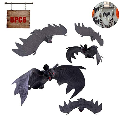WELLXUNK Chauve Souris Halloween,5 Pièces Halloween Chauves-Souris Décoration,Fournitures de Fête de Halloween,pour Halloween Eve Décor Home Window Decoration Set 1