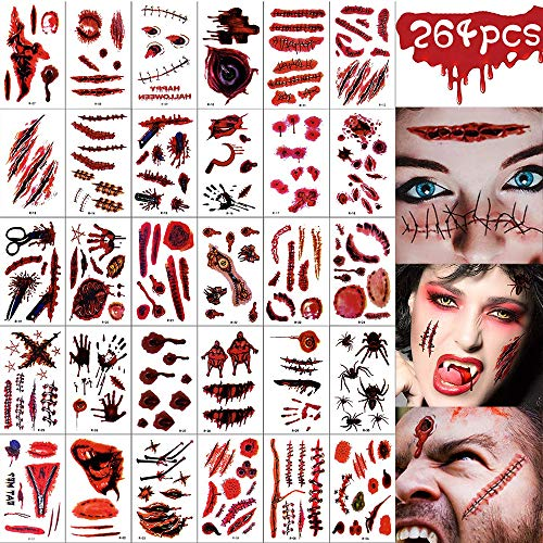 VZATT 264 Feuilles Cicatrices Tatouages, Halloween Tatouages, Zombie Cicatrices Tatouages, Tatouages de Cicatrices Pack Tatouage de Plaie de Vampire, Party Cosplay Mascarade Prank Prop Décorations 1