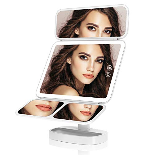 EASEHOLD Miroir Maquillage Lumineux LED Tri-Pli 66 LED 180° Batterie USB 3