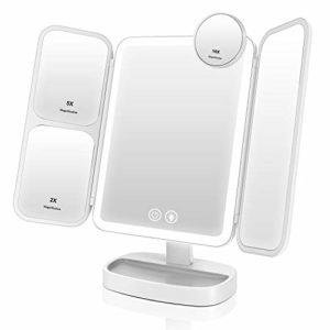 EASEHOLD Miroir Maquillage Lumineux LED Tri-Pli 66 LED 180° Batterie USB 5