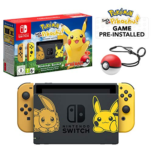 Nintendo Switch Let's Go Pikachu Limited Edition Console with Joycon, Pre-Installed Pokémon: Let's Go Pikachu + Pokeball Plus Controller (UK Version) 1