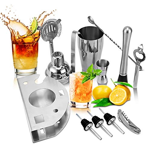 PADIAFEL Shaker à Cocktail, Shaker Cocktail Professionnel 12 Pièces, Kit Cocktail Shaker et Accessoires, Kit Barman Cocktail, Cadeau Noël Livré dans Une Boîte Cadeau 4