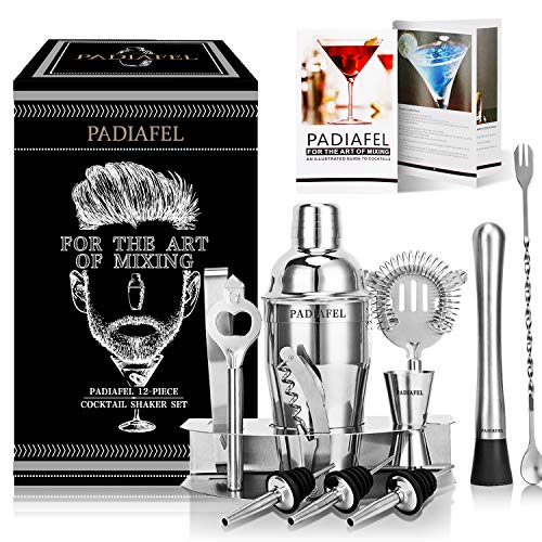 PADIAFEL Shaker à Cocktail, Shaker Cocktail Professionnel 12 Pièces, Kit Cocktail Shaker et Accessoires, Kit Barman Cocktail, Cadeau Noël Livré dans Une Boîte Cadeau 1