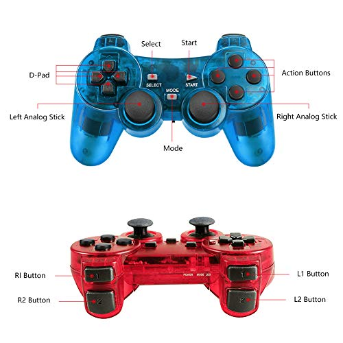 Achort 2 Pièces 2.4GHz Sans Fil Vibrations Double Gamepad Compatible avec Sony PS2 Playstation 2 Double Shock (ClearBlue and ClearRed) 3