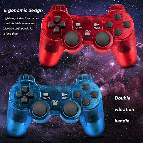 Achort 2 Pièces 2.4GHz Sans Fil Vibrations Double Gamepad Compatible avec Sony PS2 Playstation 2 Double Shock (ClearBlue and ClearRed) 4