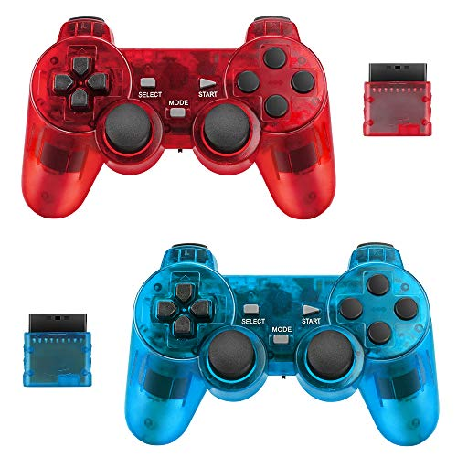 Achort 2 Pièces 2.4GHz Sans Fil Vibrations Double Gamepad Compatible avec Sony PS2 Playstation 2 Double Shock (ClearBlue and ClearRed) 1