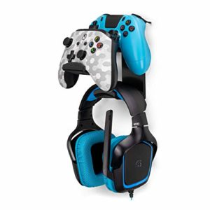 Brainwavz UberAtlas Support mural double manette de jeu et casque pour Xbox One, Series X, PS5, PS4, PS3, Switch, Steelseries Gamepad et bien plus encore 80