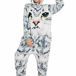 Amenxi Adulte Unisexe Anime Animal Costume Cosplay Combinaison Pyjama Outfit Nuit Vetements Onesie Fleece Halloween Costume Noël Fête Vêtements 3