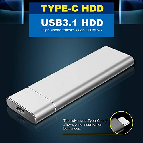 Disque Dur Externe 1to 2to, Disque Dur Externe USB3.1 Type-C Portable HDD pour PC, Xbox One, Xbox 360 4