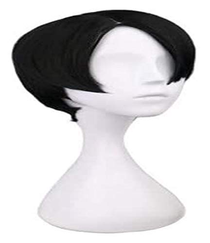 JPSOUP Levi for Perruque d'attaque sur Titan Perruque Anime Cosplay Comic-Con Fête d'halloween Carnaval des Adultes Adolescents (Short Black Hair) 2