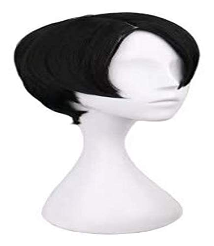 JPSOUP Levi for Perruque d'attaque sur Titan Perruque Anime Cosplay Comic-Con Fête d'halloween Carnaval des Adultes Adolescents (Short Black Hair) 3