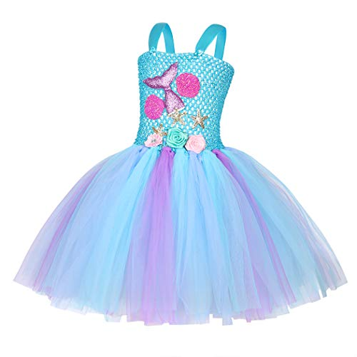 Jurebecia Deguisement Princesse Fille sirène Fille Princess Dress Up Robe Tutu Fête d'anniversaire de Luxe Halloween Kids Robes avec Bandeau 2