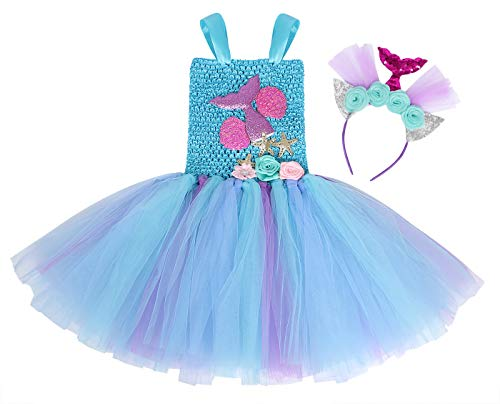 Jurebecia Deguisement Princesse Fille sirène Fille Princess Dress Up Robe Tutu Fête d'anniversaire de Luxe Halloween Kids Robes avec Bandeau 3