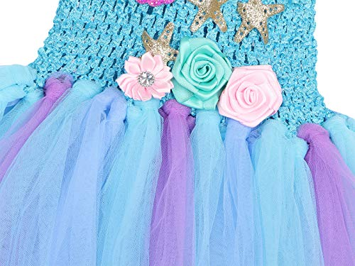 Jurebecia Deguisement Princesse Fille sirène Fille Princess Dress Up Robe Tutu Fête d'anniversaire de Luxe Halloween Kids Robes avec Bandeau 4