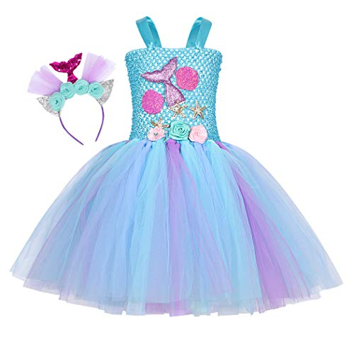 Jurebecia Deguisement Princesse Fille sirène Fille Princess Dress Up Robe Tutu Fête d'anniversaire de Luxe Halloween Kids Robes avec Bandeau 1