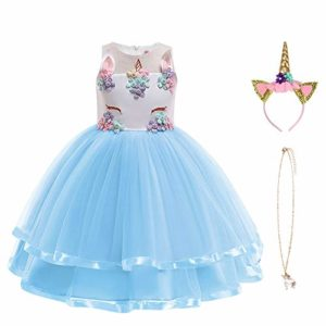 URAQT Robe Licorne Enfant de Princesse, Robes Fille, Robe de Princesse avec Licorne, Unicorn Party 5