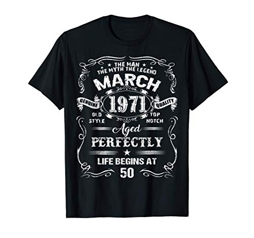 Homme Legend Were Born In March 1971 Cadeau Anniversaire 50 Ans T-Shirt 1