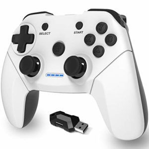 Maegoo Manette PC Sans Fil, PS3 Manette 2.4g PC Manette de Jeu Gamepad Joystick avec Double Vibration Rechargeable pour Playstation 3 et PC Windows 10 XP 7 8 Android TV/ TV Box 76