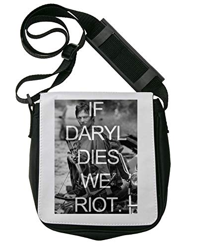 If Daryl Dies We Riot The Walking Dead Poster Sac porté épaule Homme Sacoche Bandouliere Unisex Shoulder Bag 1