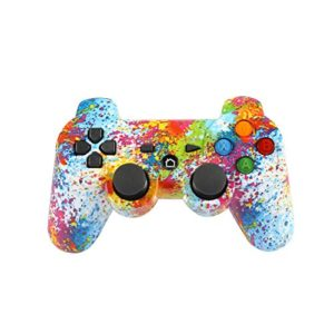 Jiayuane Manette sans Fil PS3 Joystick à Double Vibration Gamepad Bluetooth à Six Axes Compatible avec Sony Playstation 3, Graffiti Multicolore 65