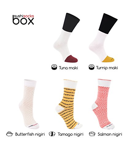 Rainbow Socks - Femmes Hommes - Sushi Chaussettes Tamago Butterfish Thon 2x Maki - 5 Paires - Taille UE 36-40 3