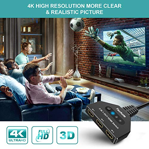 Techole Switch HDMI 4K, 3 Entrée vers 1 Sorties Commutateur HDMI UHD/3D/4K@30Hz/1080P@60Hz, HDMI Switch Supporte PC PS4 PS3 Xbox Lecteur Blu-Ray TV Box HDTV DVD Écran Projecteur 2